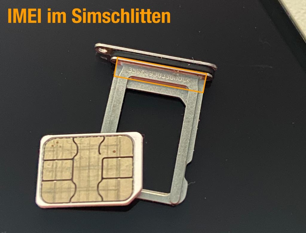 iPhone IMEI im SIM-Schlitten